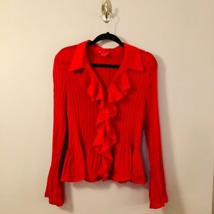 Sheer Red Blouse with Bell sleeves and Ruffle
